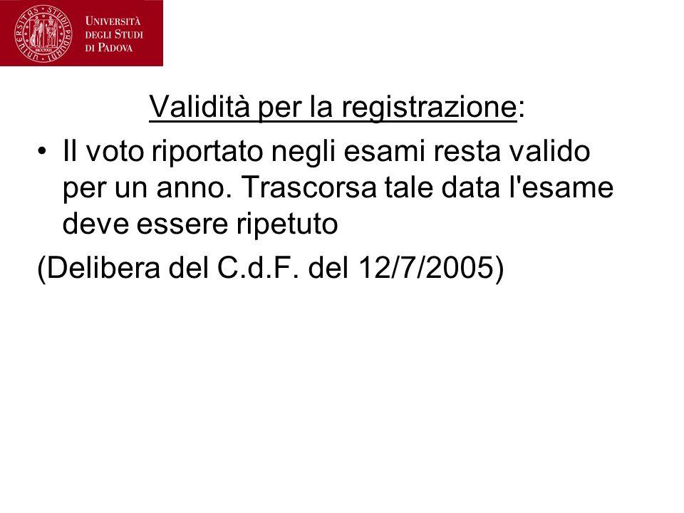 Validità per la registrazione: Il voto riportato negli esami resta valido per un anno. Trascorsa tale data l'esame deve essere ripetuto (Delibera del