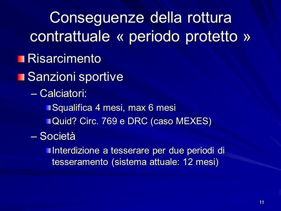 11 Conseguenze della rottura contrattuale « periodo protetto » Risarcimento Sanzioni sportive –Calciatori: Squalifica 4 mesi, max 6 mesi Quid? Circ. 7