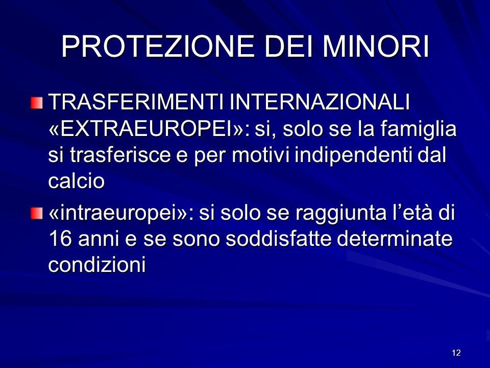 12 PROTEZIONE DEI MINORI TRASFERIMENTI INTERNAZIONALI «EXTRAEUROPEI»: si, solo se la famiglia si trasferisce e per motivi indipendenti dal calcio «int