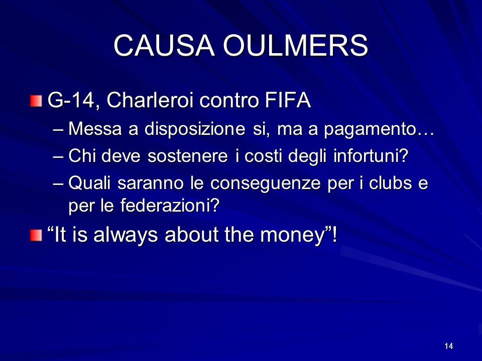 14 CAUSA OULMERS G-14, Charleroi contro FIFA –Messa a disposizione si, ma a pagamento… –Chi deve sostenere i costi degli infortuni? –Quali saranno le