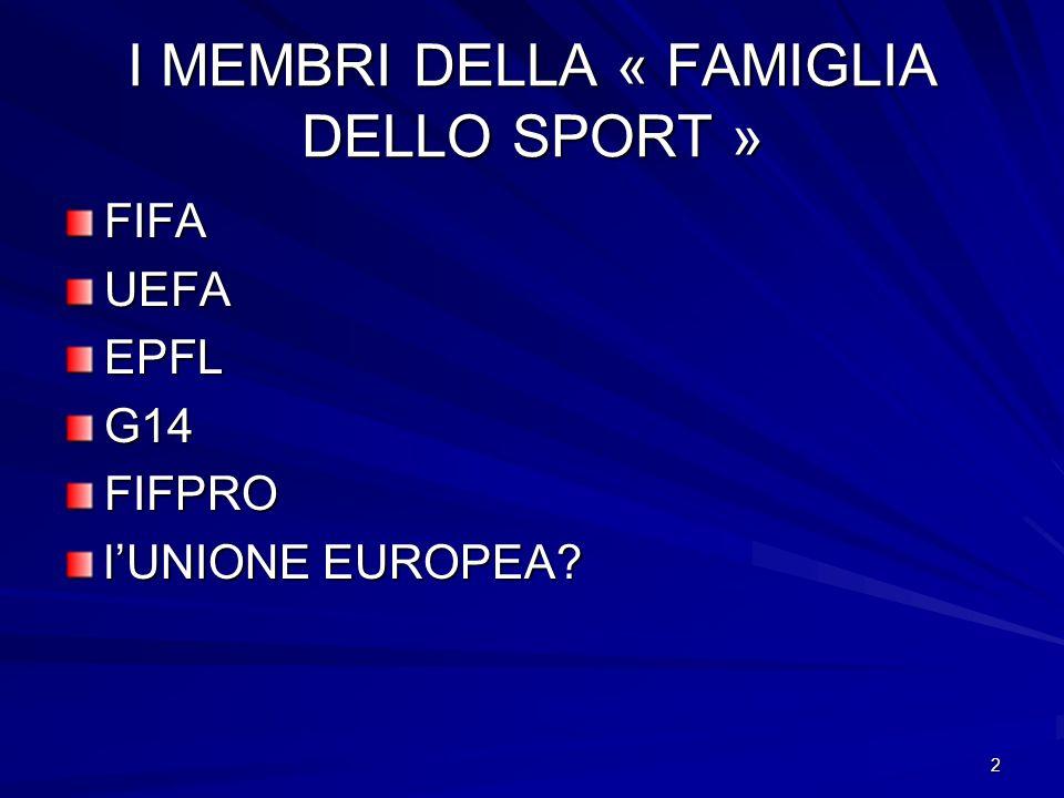 2 I MEMBRI DELLA « FAMIGLIA DELLO SPORT » FIFAUEFAEPFLG14FIFPRO lUNIONE EUROPEA?