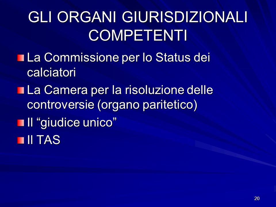 20 GLI ORGANI GIURISDIZIONALI COMPETENTI La Commissione per lo Status dei calciatori La Camera per la risoluzione delle controversie (organo paritetic