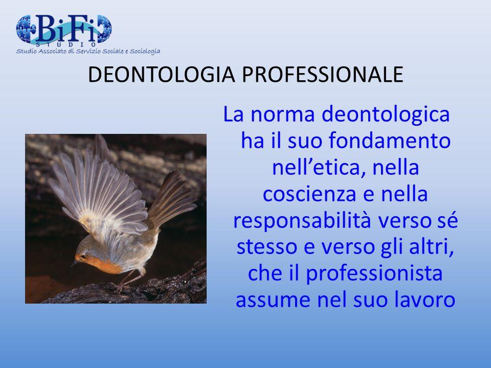 DEONTOLOGIA PROFESSIONALE La norma deontologica ha il suo fondamento nelletica, nella coscienza e nella responsabilità verso sé stesso e verso gli alt