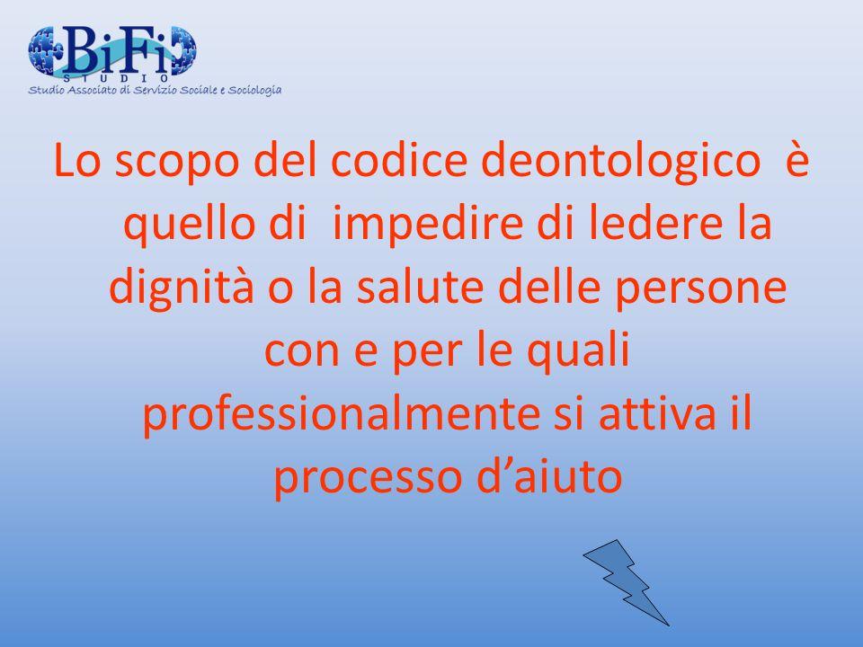 Lo scopo del codice deontologico è quello di impedire di ledere la dignità o la salute delle persone con e per le quali professionalmente si attiva il