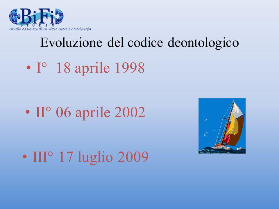 Evoluzione del codice deontologico I° 18 aprile 1998 II° 06 aprile 2002 III° 17 luglio 2009
