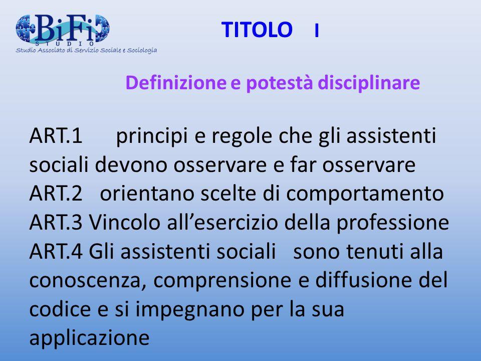 TITOLO I Definizione e potestà disciplinare ART.1 principi e regole che gli assistenti sociali devono osservare e far osservare ART.2 orientano scelte