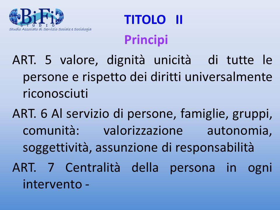 TITOLO II Principi ART. 5 valore, dignità unicità di tutte le persone e rispetto dei diritti universalmente riconosciuti ART. 6 Al servizio di persone
