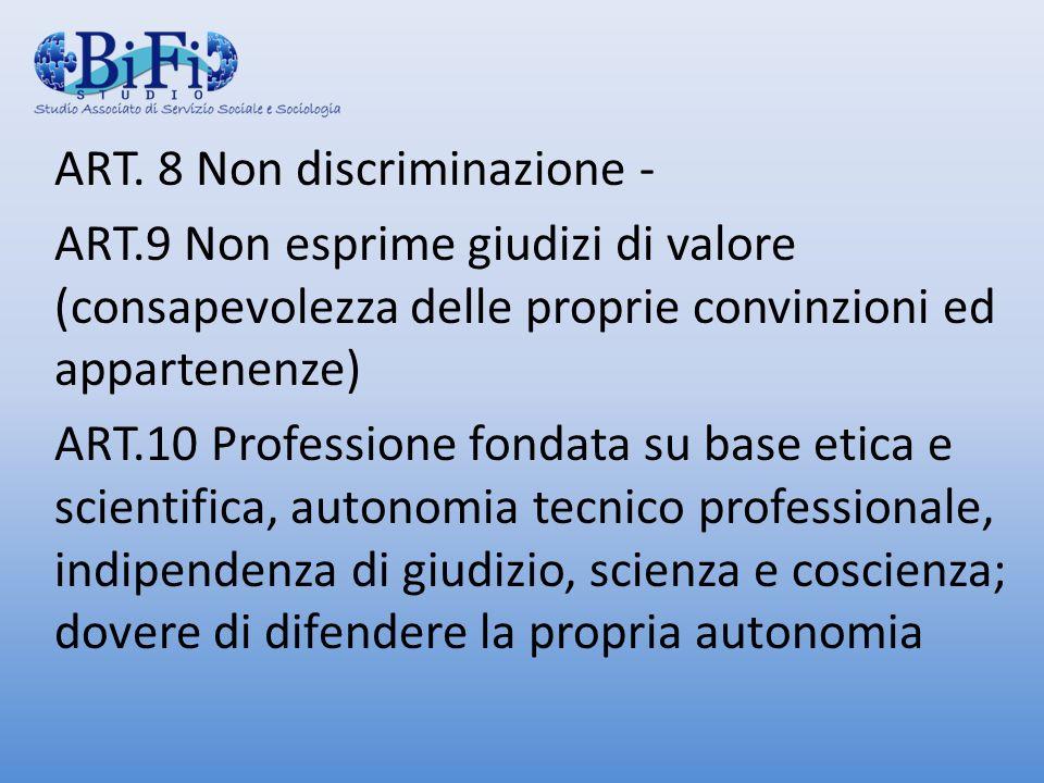 ART. 8 Non discriminazione - ART.9 Non esprime giudizi di valore (consapevolezza delle proprie convinzioni ed appartenenze) ART.10 Professione fondata
