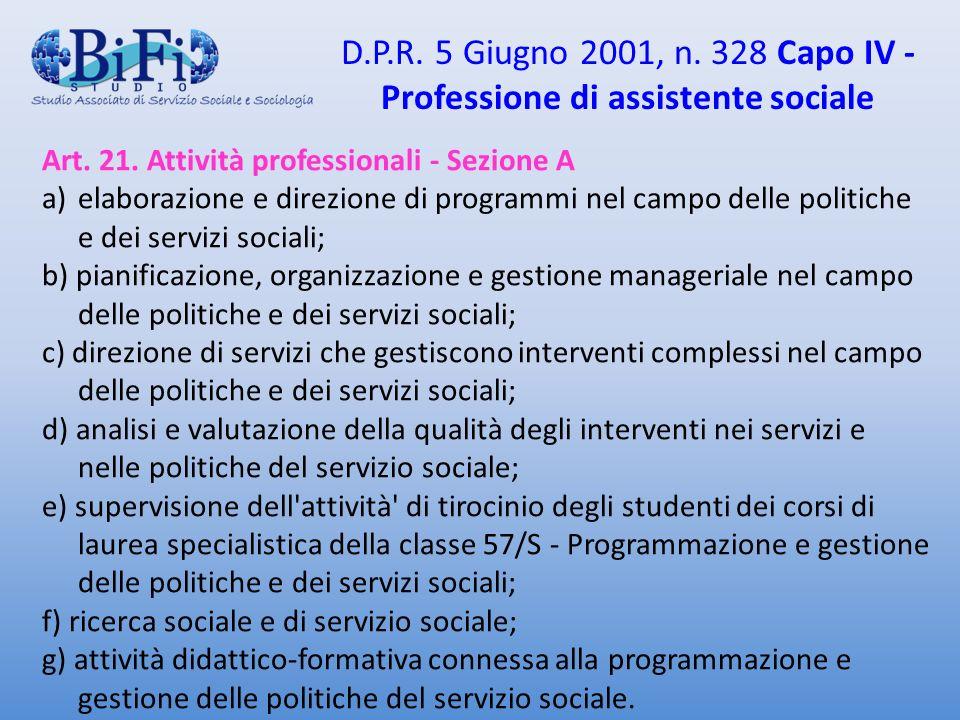 D.P.R. 5 Giugno 2001, n. 328 Capo IV - Professione di assistente sociale Art. 21. Attività professionali - Sezione A a)elaborazione e direzione di pro
