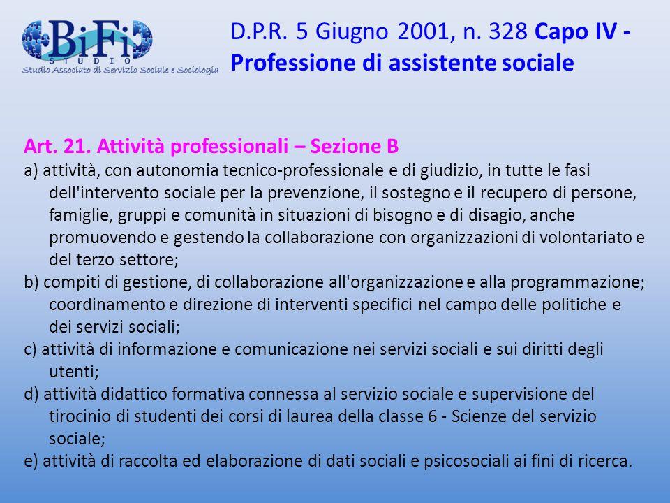 D.P.R. 5 Giugno 2001, n. 328 Capo IV - Professione di assistente sociale Art. 21. Attività professionali – Sezione B a) attività, con autonomia tecnic