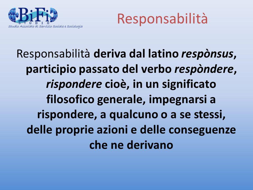 Responsabilità Responsabilità deriva dal latino respònsus, participio passato del verbo respòndere, rispondere cioè, in un significato filosofico gene