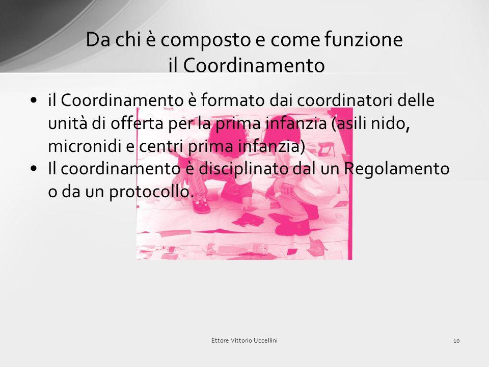 costituzione di un coordinamento provinciale dei servizi per la prima infanzia, che possa rappresentare «lo strumento atto a garantire il raccordo tra