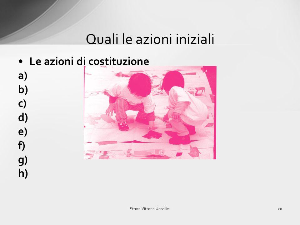 Le indicazioni di metodo: a) b) c) d) e) f) g) h) Il metodo di lavoro 19Ettore Vittorio Uccellini