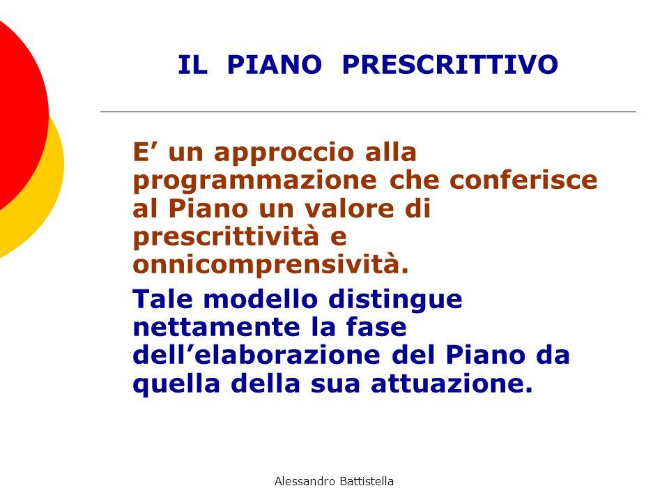 IL PIANO PRESCRITTIVO E un approccio alla programmazione che conferisce al Piano un valore di prescrittività e onnicomprensività.