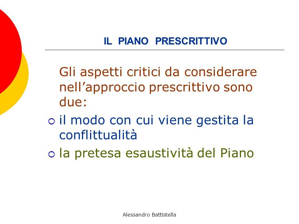 IL PIANO PRESCRITTIVO Gli aspetti critici da considerare nellapproccio prescrittivo sono due: il modo con cui viene gestita la conflittualità la pretesa esaustività del Piano Alessandro Battistella
