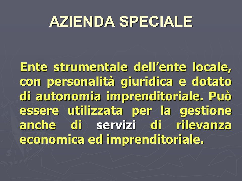 AZIENDA SPECIALE Ente strumentale dellente locale, con personalità giuridica e dotato di autonomia imprenditoriale.