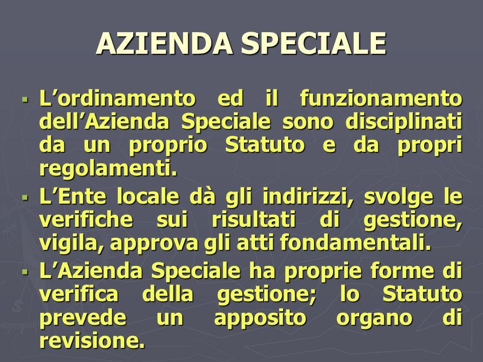 AZIENDA SPECIALE Lordinamento ed il funzionamento dellAzienda Speciale sono disciplinati da un proprio Statuto e da propri regolamenti.
