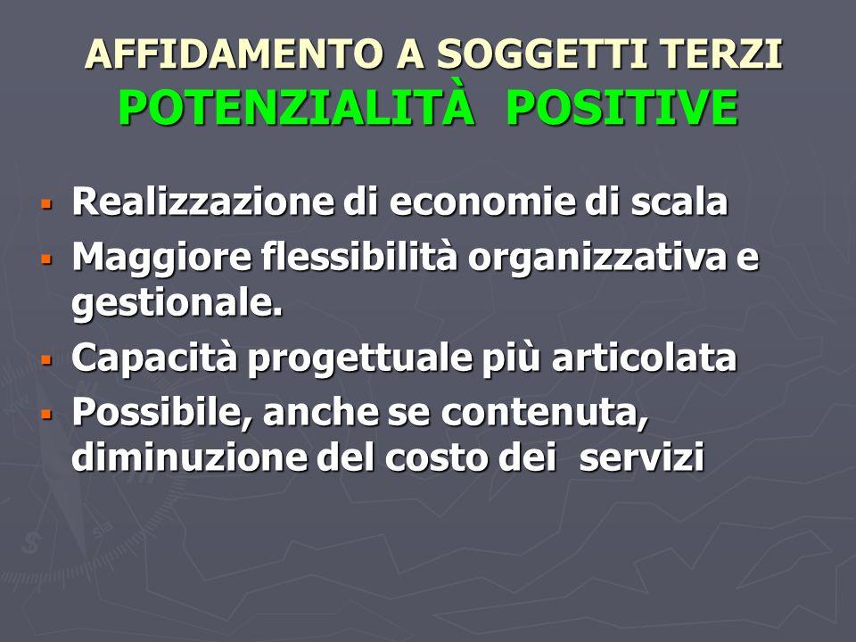 AFFIDAMENTO A SOGGETTI TERZI POTENZIALITÀ POSITIVE AFFIDAMENTO A SOGGETTI TERZI POTENZIALITÀ POSITIVE Realizzazione di economie di scala Realizzazione di economie di scala Maggiore flessibilità organizzativa e gestionale.