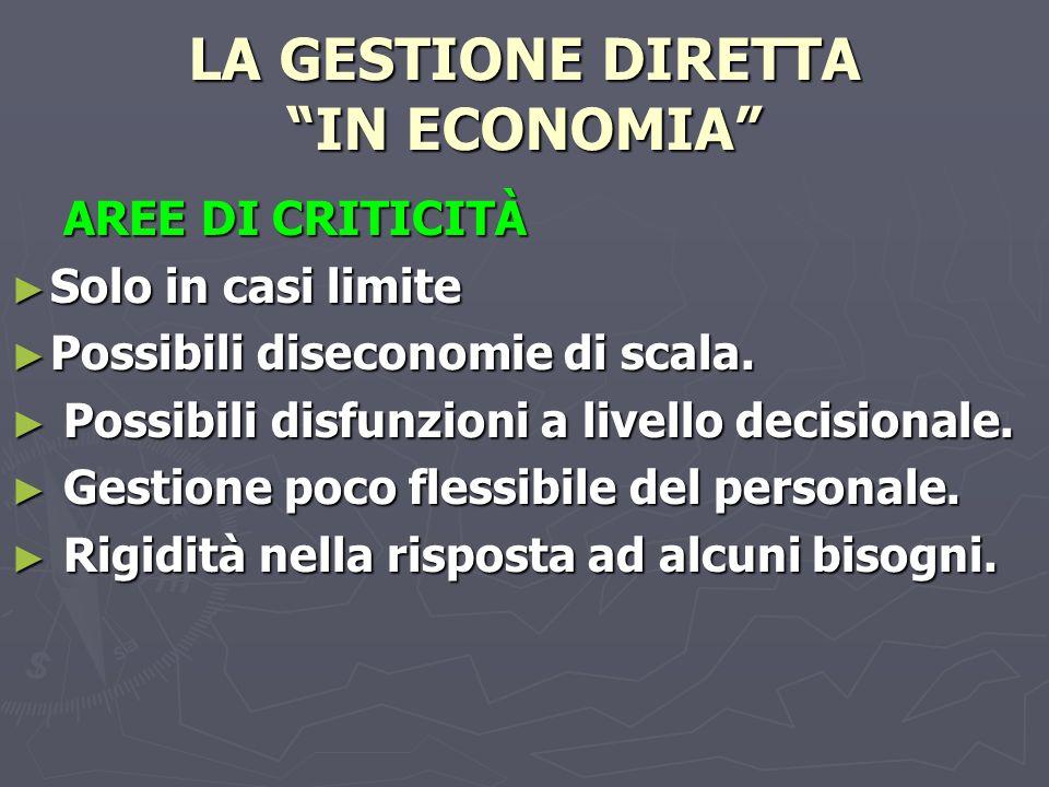 LA GESTIONE DIRETTA IN ECONOMIA AREE DI CRITICITÀ AREE DI CRITICITÀ Solo in casi limite Solo in casi limite Possibili diseconomie di scala.