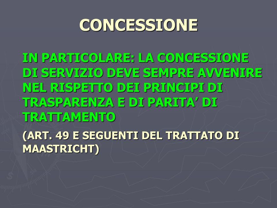 CONCESSIONE IN PARTICOLARE: LA CONCESSIONE DI SERVIZIO DEVE SEMPRE AVVENIRE NEL RISPETTO DEI PRINCIPI DI TRASPARENZA E DI PARITA DI TRATTAMENTO (ART.