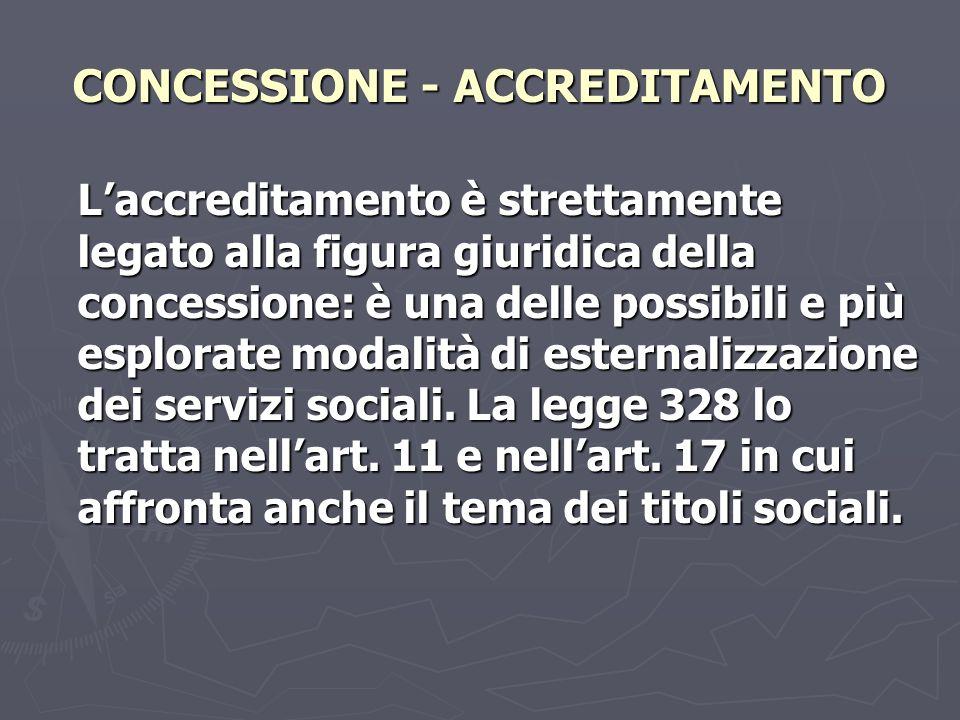 CONCESSIONE - ACCREDITAMENTO Laccreditamento è strettamente legato alla figura giuridica della concessione: è una delle possibili e più esplorate modalità di esternalizzazione dei servizi sociali.