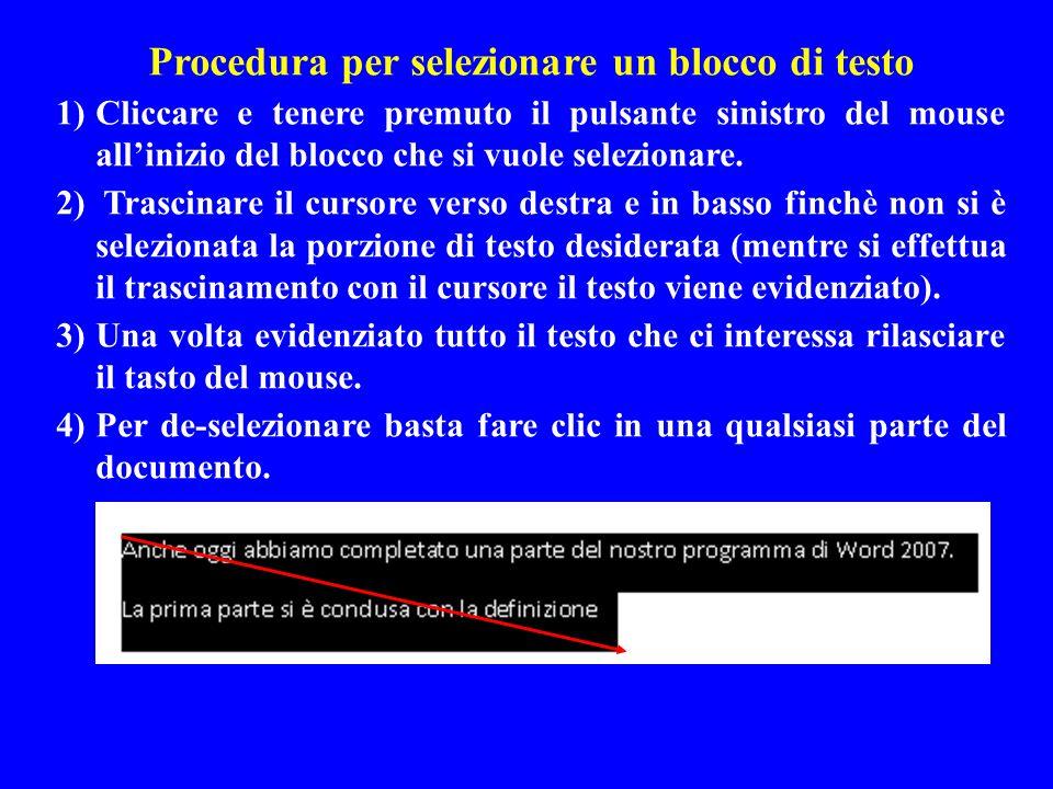 Procedura per selezionare un blocco di testo 1)Cliccare e tenere premuto il pulsante sinistro del mouse allinizio del blocco che si vuole selezionare.