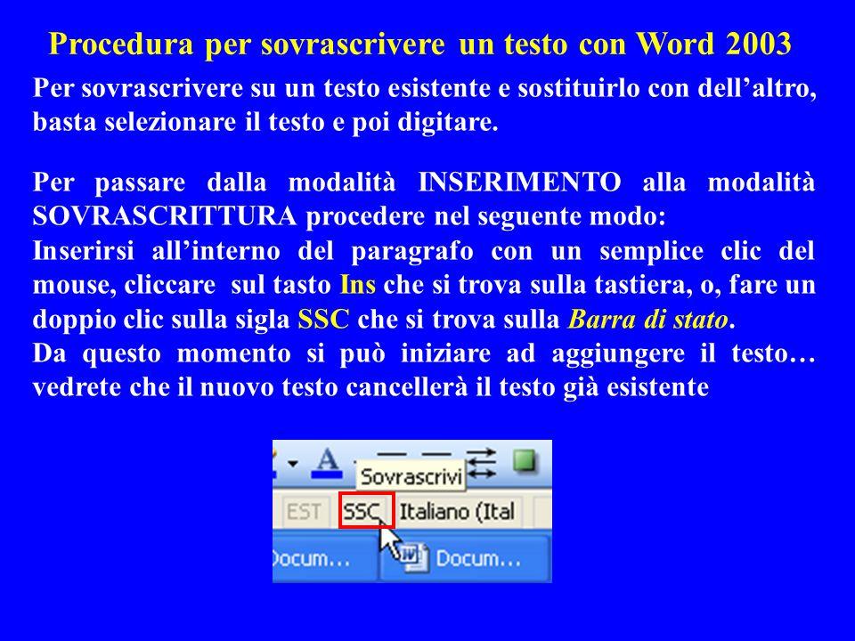 Procedura per sovrascrivere un testo con Word 2003 Per passare dalla modalità INSERIMENTO alla modalità SOVRASCRITTURA procedere nel seguente modo: In