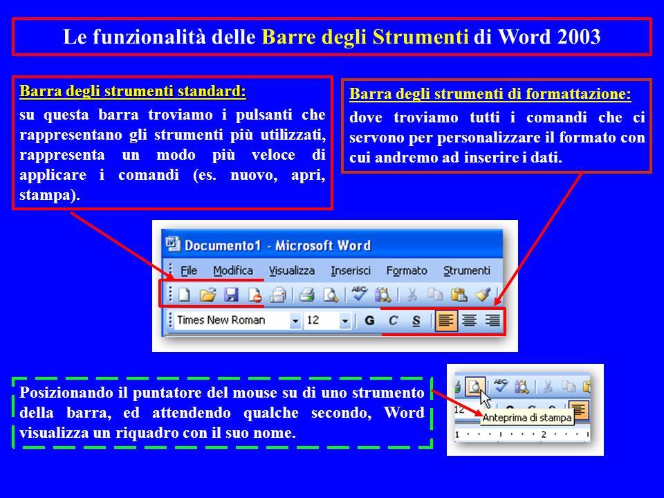 Barra degli strumenti standard: su questa barra troviamo i pulsanti che rappresentano gli strumenti più utilizzati, rappresenta un modo più veloce di