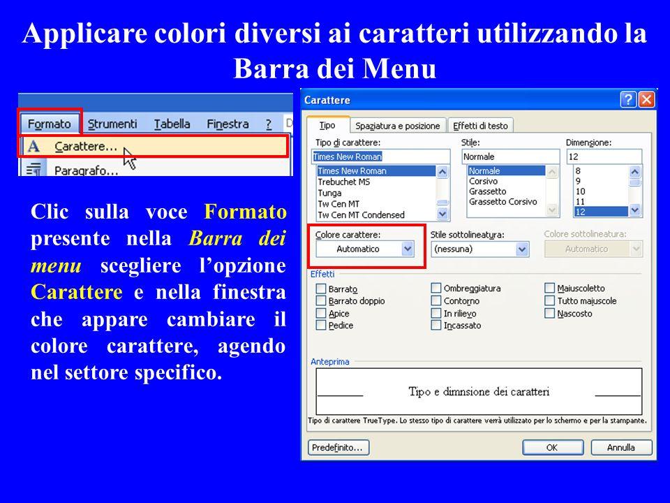 Applicare colori diversi ai caratteri utilizzando la Barra dei Menu Clic sulla voce Formato presente nella Barra dei menu scegliere lopzione Carattere