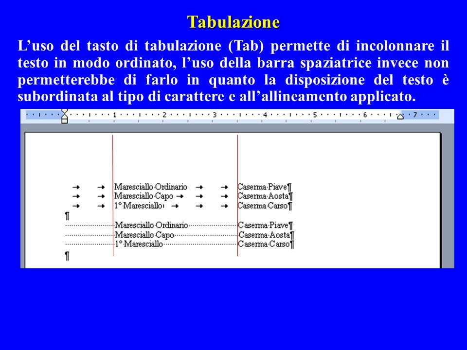 Tabulazione Luso del tasto di tabulazione (Tab) permette di incolonnare il testo in modo ordinato, luso della barra spaziatrice invece non permettereb