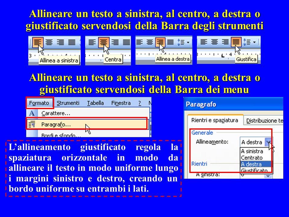 Allineare un testo a sinistra, al centro, a destra o giustificato servendosi della Barra degli strumenti Allineare un testo a sinistra, al centro, a d