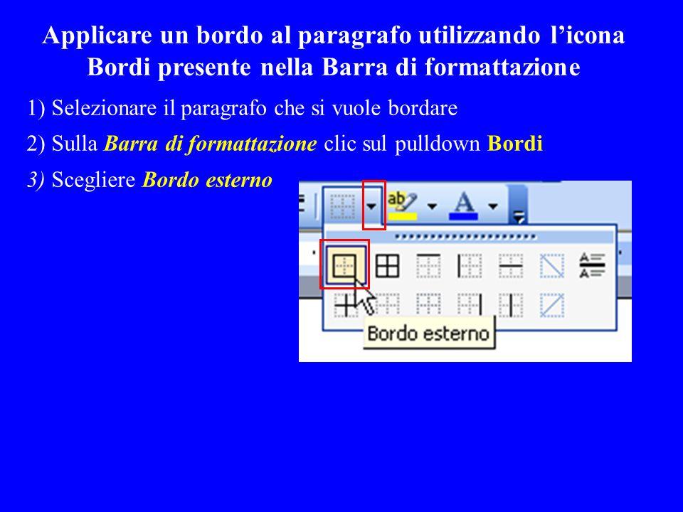 Applicare un bordo al paragrafo utilizzando licona Bordi presente nella Barra di formattazione 1) Selezionare il paragrafo che si vuole bordare 2) Sul