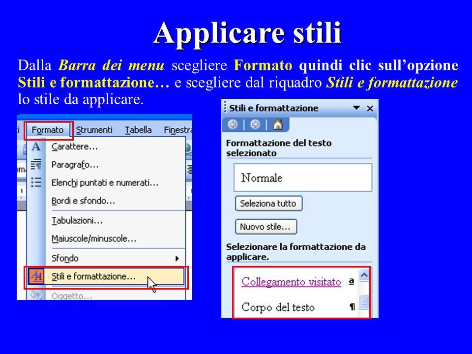 Dalla Barra dei menu scegliere Formato quindi clic sullopzione Stili e formattazione… e scegliere dal riquadro Stili e formattazione lo stile da appli