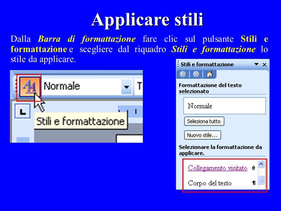 Dalla Barra di formattazione fare clic sul pulsante Stili e formattazione e scegliere dal riquadro Stili e formattazione lo stile da applicare.
