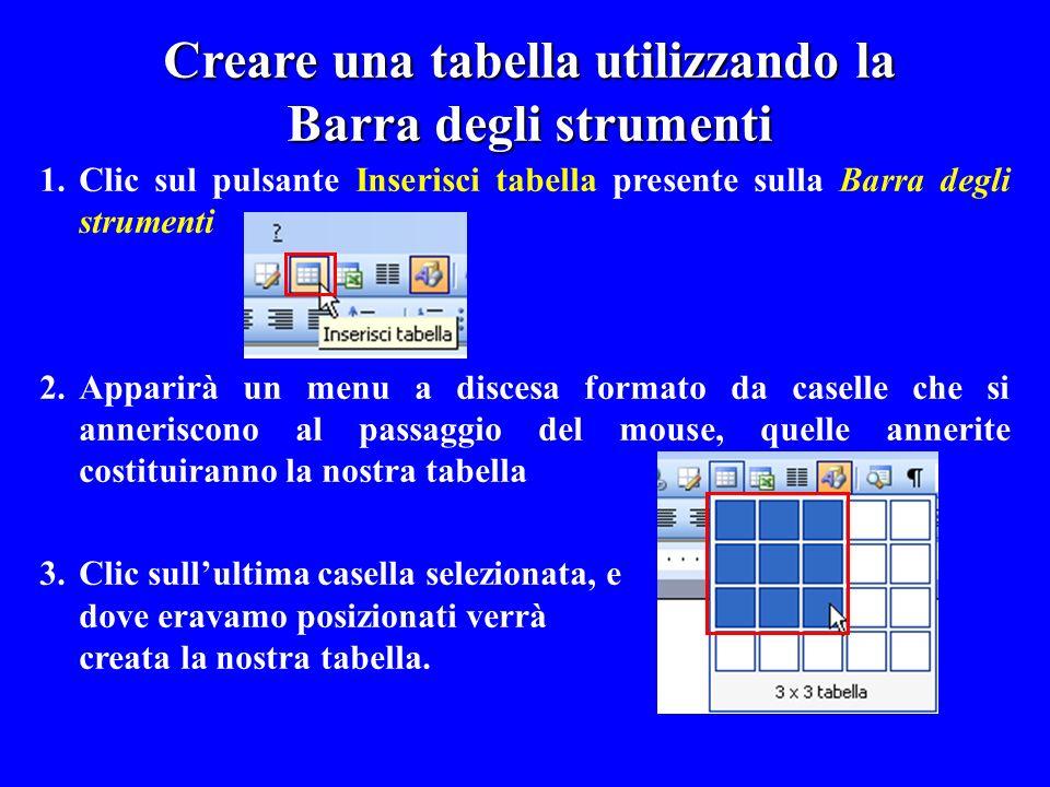 1.Clic sul pulsante Inserisci tabella presente sulla Barra degli strumenti 2.Apparirà un menu a discesa formato da caselle che si anneriscono al passa