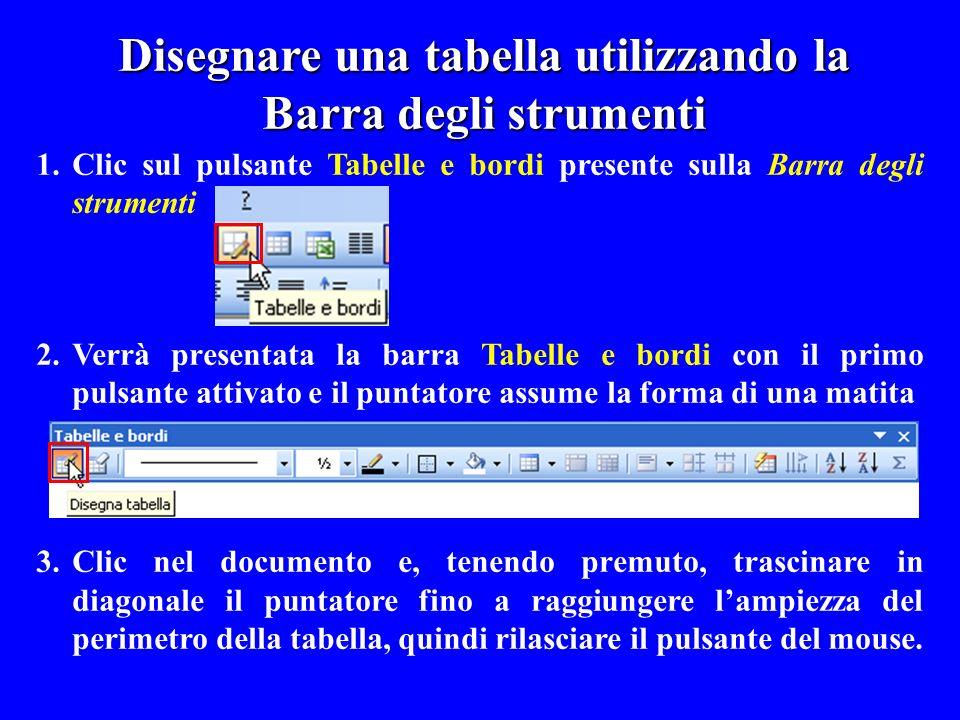 1.Clic sul pulsante Tabelle e bordi presente sulla Barra degli strumenti 2.Verrà presentata la barra Tabelle e bordi con il primo pulsante attivato e