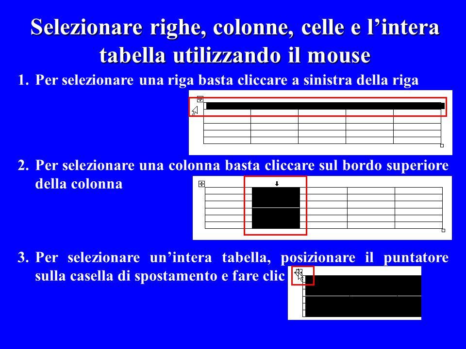 1.Per selezionare una riga basta cliccare a sinistra della riga 2.Per selezionare una colonna basta cliccare sul bordo superiore della colonna 3.Per s