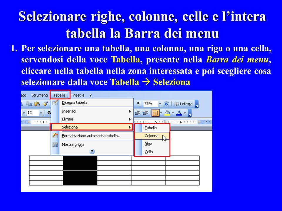 1.Per selezionare una tabella, una colonna, una riga o una cella, servendosi della voce Tabella, presente nella Barra dei menu, cliccare nella tabella
