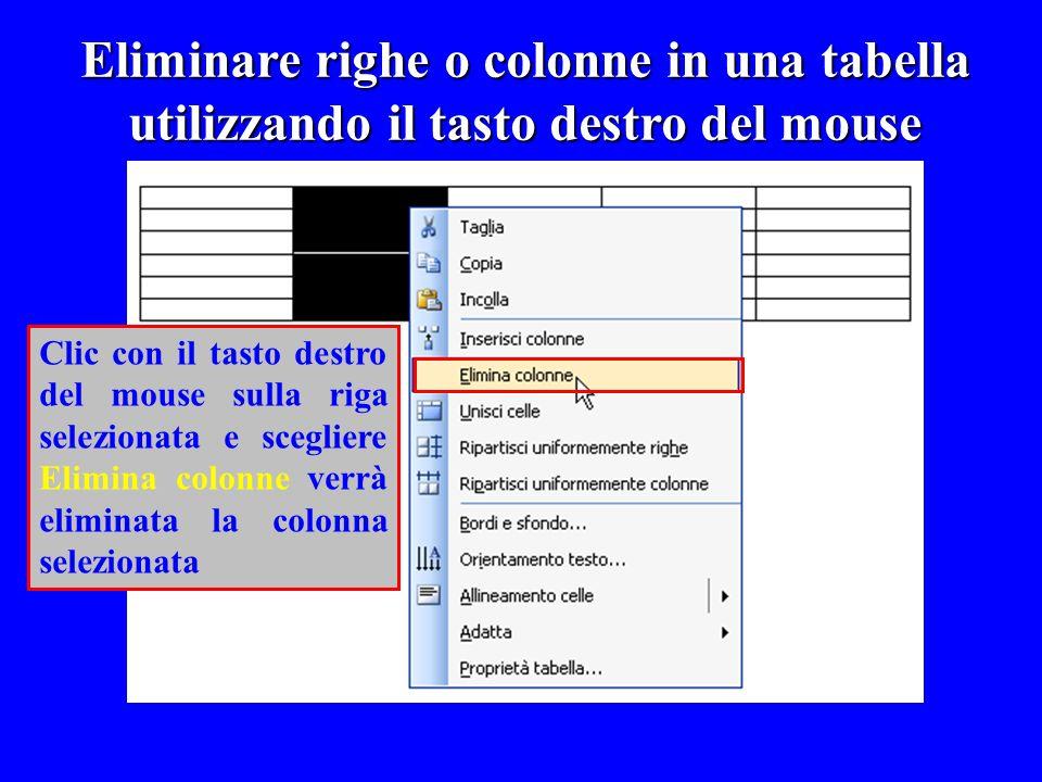 Eliminare righe o colonne in una tabella utilizzando il tasto destro del mouse Clic con il tasto destro del mouse sulla riga selezionata e scegliere E