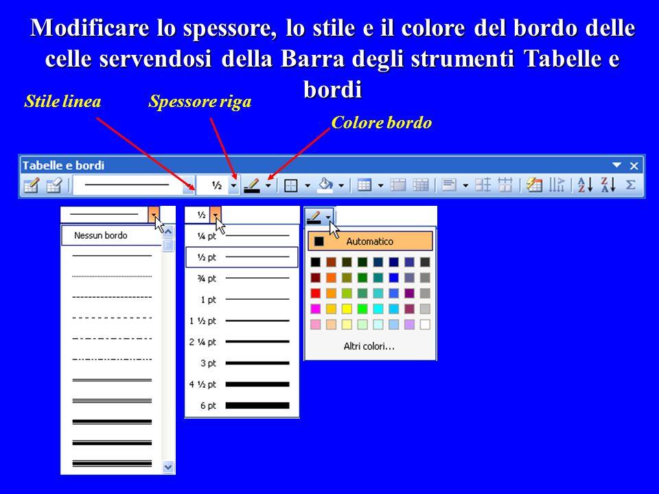 Modificare lo spessore, lo stile e il colore del bordo delle celle servendosi della Barra degli strumenti Tabelle e bordi Stile lineaSpessore riga Col