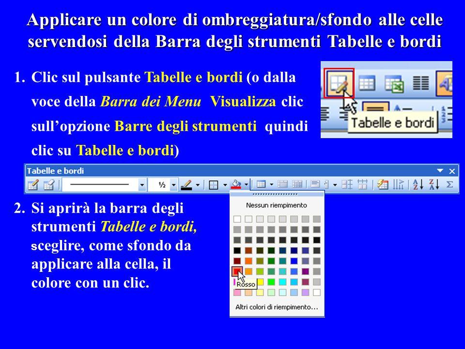 Applicare un colore di ombreggiatura/sfondo alle celle servendosi della Barra degli strumenti Tabelle e bordi 1.Clic sul pulsante Tabelle e bordi (o d