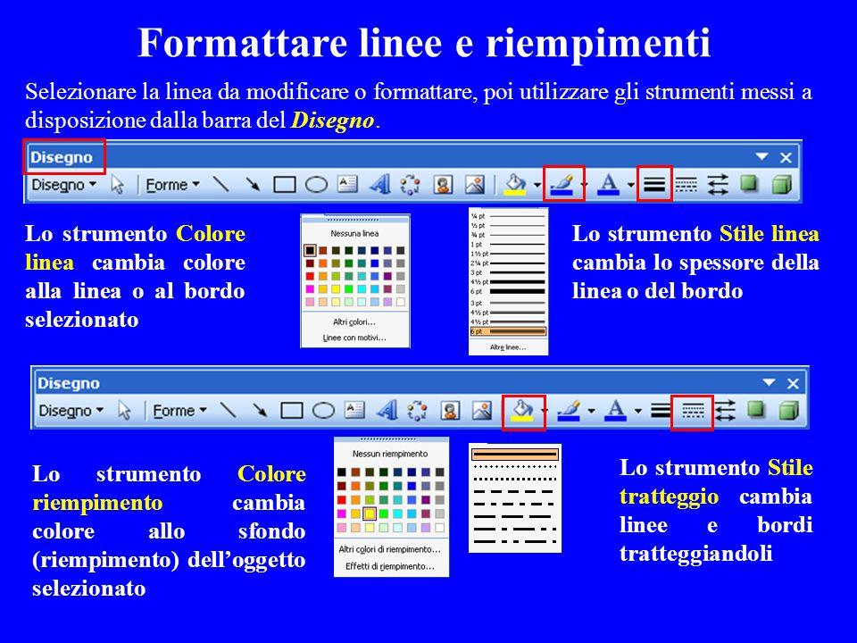 Selezionare la linea da modificare o formattare, poi utilizzare gli strumenti messi a disposizione dalla barra del Disegno. Lo strumento Stile linea c