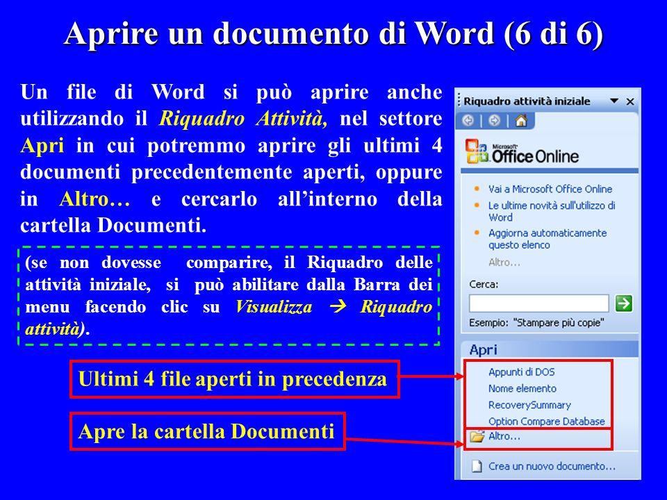 Un file di Word si può aprire anche utilizzando il Riquadro Attività, nel settore Apri in cui potremmo aprire gli ultimi 4 documenti precedentemente a