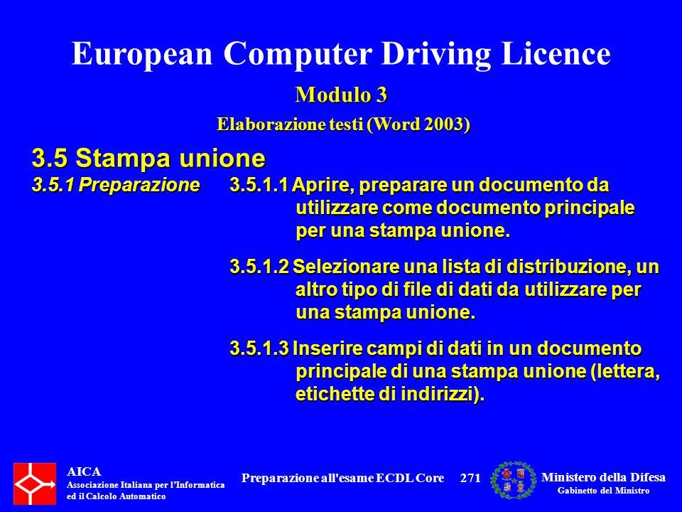 European Computer Driving Licence Modulo 3 Elaborazione testi (Word 2003) Elaborazione testi (Word 2003) AICA Associazione Italiana per lInformatica e