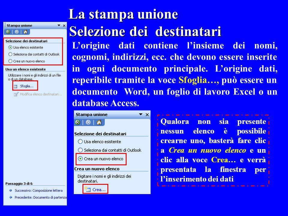 La stampa unione La stampa unione Selezione dei destinatari Lorigine dati contiene linsieme dei nomi, cognomi, indirizzi, ecc. che devono essere inser