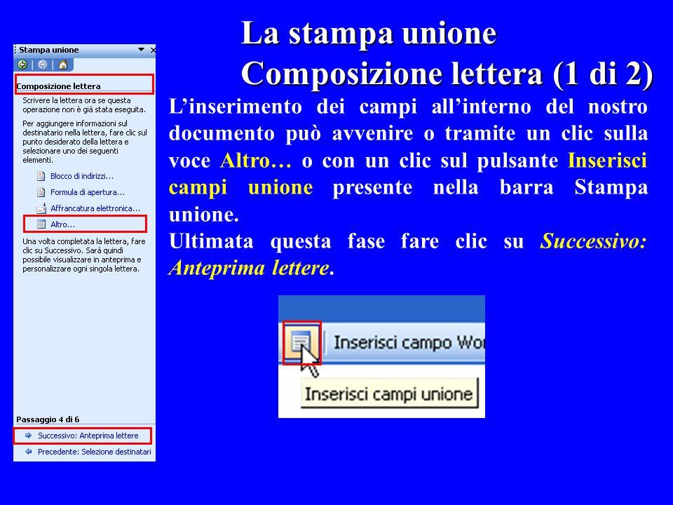 La stampa unione La stampa unione Composizione lettera (1 di 2) Linserimento dei campi allinterno del nostro documento può avvenire o tramite un clic