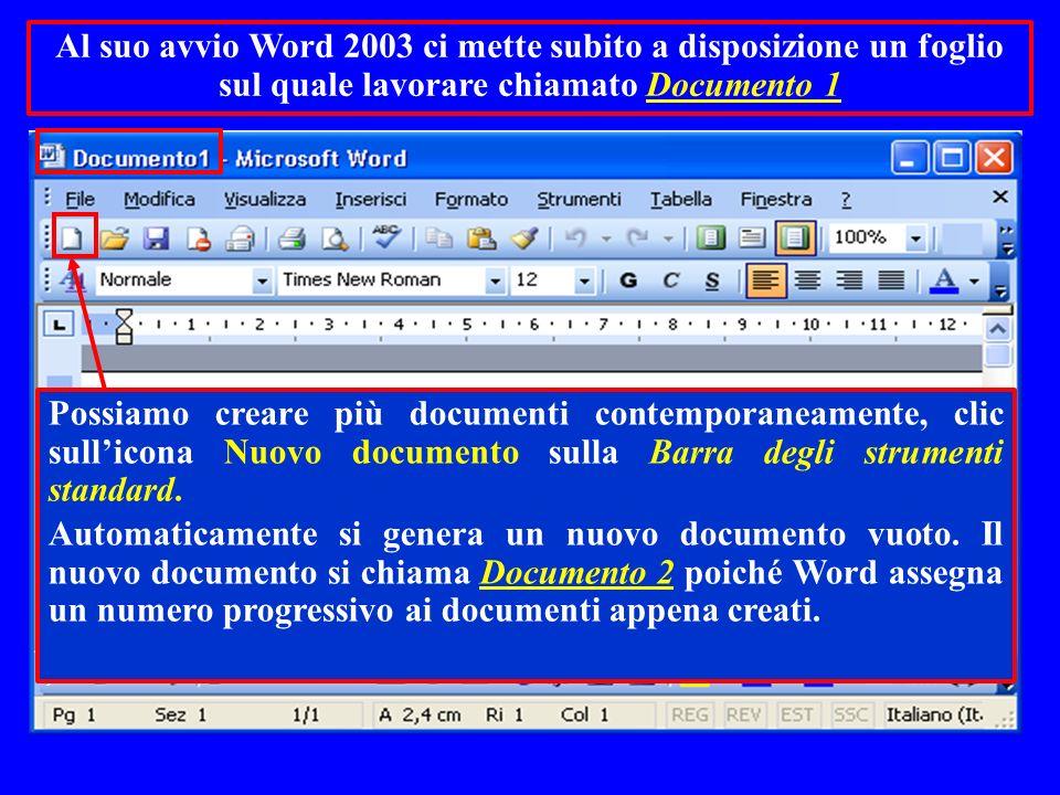 Al suo avvio Word 2003 ci mette subito a disposizione un foglio sul quale lavorare chiamato Documento 1 Possiamo creare più documenti contemporaneamen