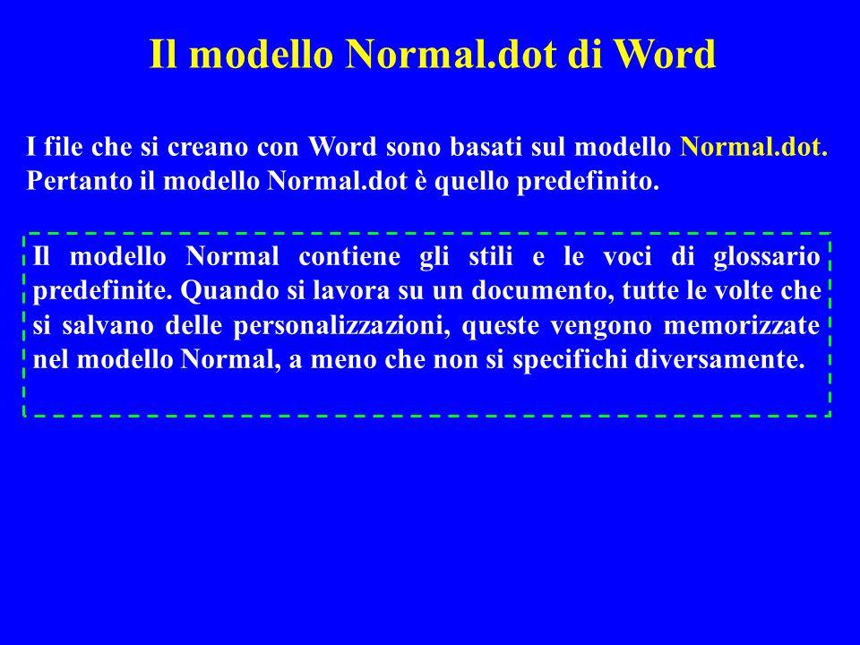 I file che si creano con Word sono basati sul modello Normal.dot. Pertanto il modello Normal.dot è quello predefinito. Il modello Normal contiene gli