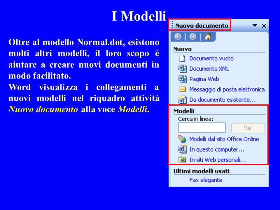 I Modelli Oltre al modello Normal.dot, esistono molti altri modelli, il loro scopo è aiutare a creare nuovi documenti in modo facilitato. Word visuali