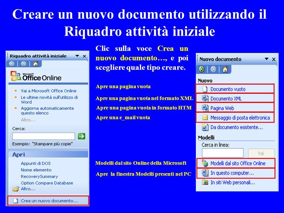 Apre una pagina vuota Apre una pagina vuota nel formato XML Apre una pagina vuota in formato HTM Apre una e_mail vuota Modelli dal sito Online della M